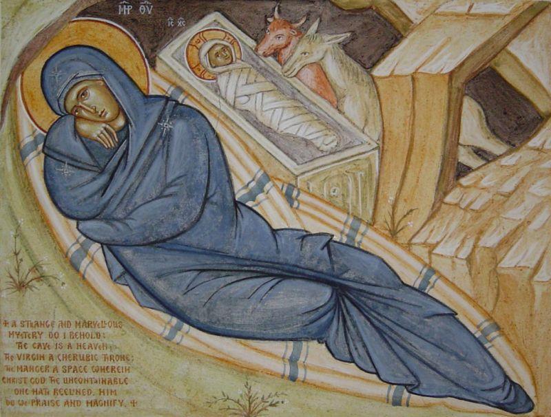 detaliu de frescă: icoana Naşterii Domnului